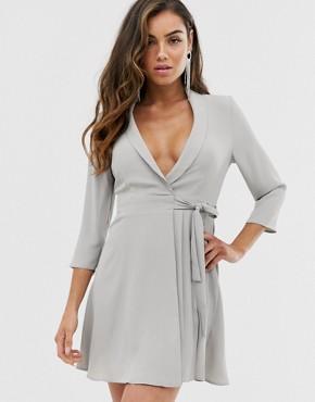 ASOS DESIGN pleated wrap mini dress