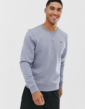 Lacoste Sport logo crew neck sweat in grey marl