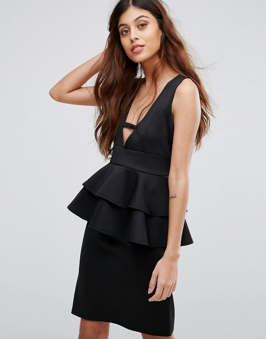Be Jealous Midi Dress With Peplum Detail