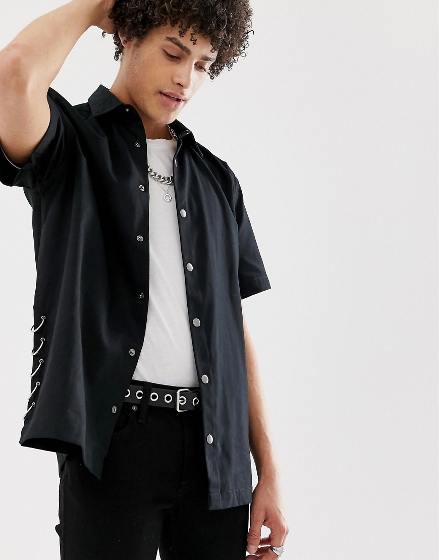 Product photo of Asos design oversized shirt with popper buttons  ring detail in black  black