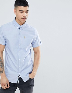 Luke Sport Jimmy Travel Short Sleeve Buttondown Shirt in Blue - Sky blue