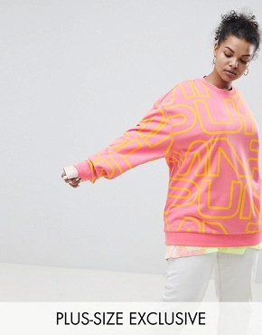 Puma Exclusive To ASOS Plus Sweatshirt With All Over Logo In Pink - Bubblegum / mimosa