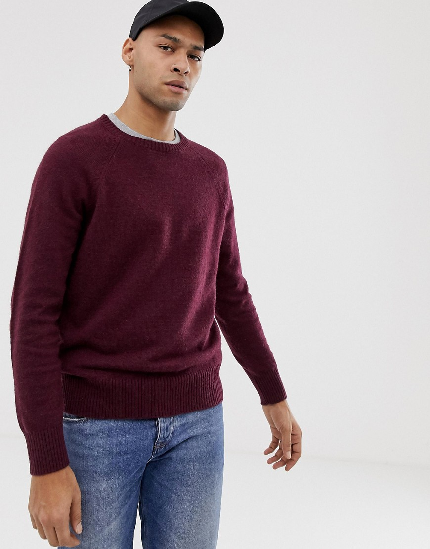 J.Crew Mercantile wool nylon jumper in burgundy marl