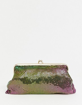 Reclaimed Vintage inspired iridescent metallic clutch bag with clasp - Multi