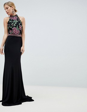 Jovani Embroided Maxi Dress - Black