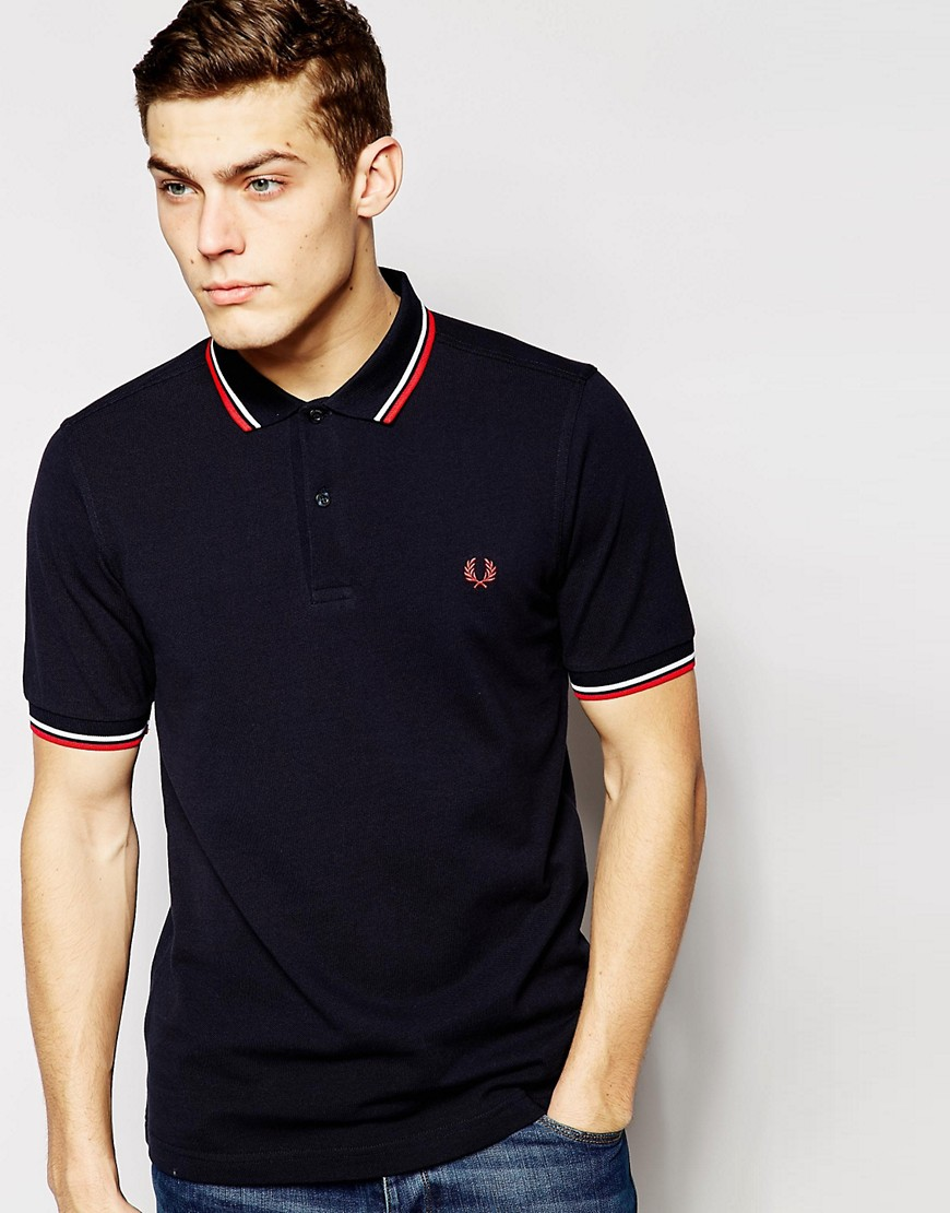 Product photo of Fred perry slim fit twin tipped polo shirt in navy navy