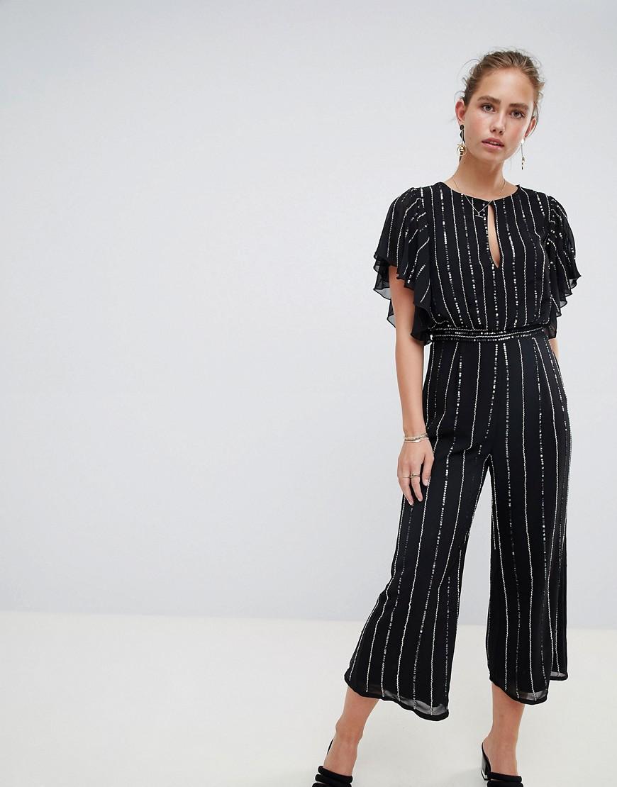 Product photo of Miss selfridge jumpsuit in glitter stripe and angel sleeve black