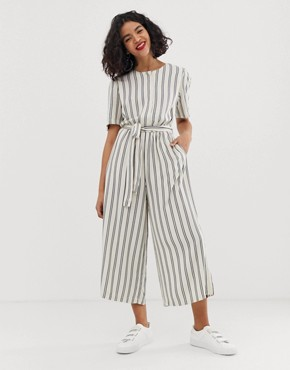 Moss Copenhagen wide leg jumpsuit with belted waist in stripe