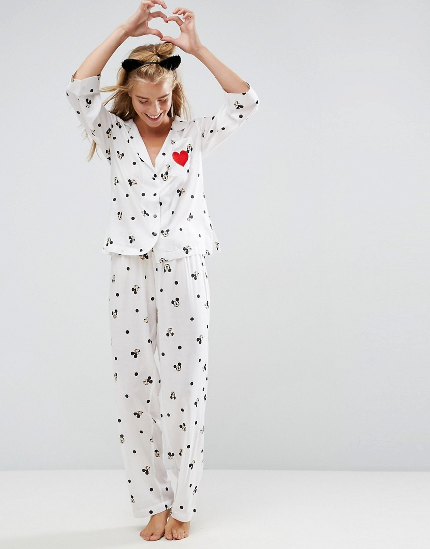 ASOS Mickey Mouse Embroidered Heart Trouser and Shirt Pyjama Set - Multi