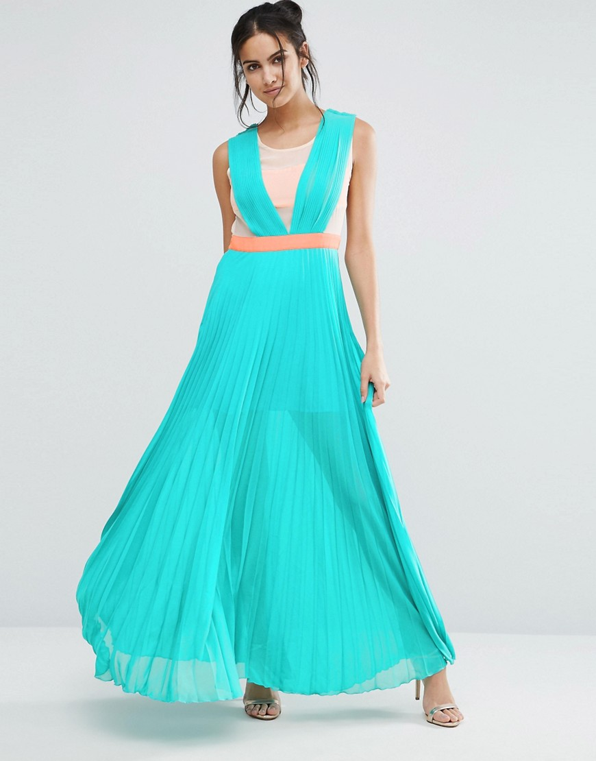 Jovanna Neontown Pleated Maxi Dress