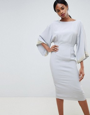 ASOS DESIGN kimono midi dress with embellished trim - Pale blue