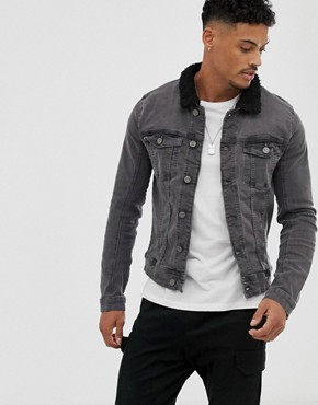 Blend borg collar denim jacket