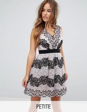 Little Mistress Petite Lace Applique Contrast Mini Prom Dress - Multi