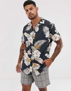 Jack & Jones Premium revere collar floral print shirt short sleeve shirt in black