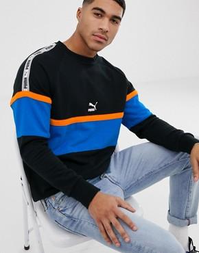 Puma XTG colour block sweatshirtshirt in black