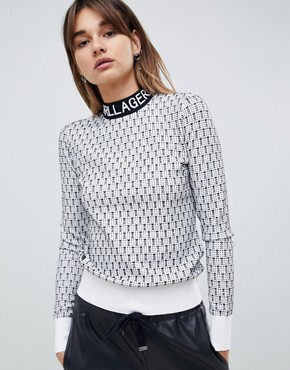 Karl Lagerfeld logo patterned jumper - White/black