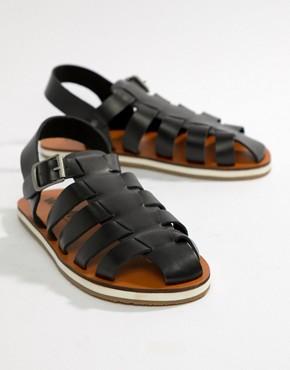 Frank Wright Strap Sandals In Black - Black