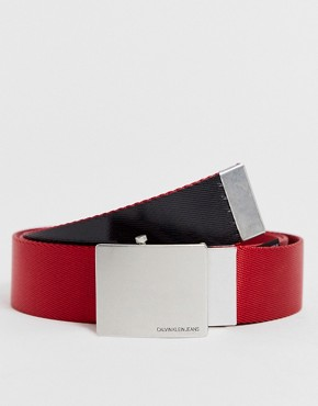 Calvin Klein Jeans logo webbing belt in red
