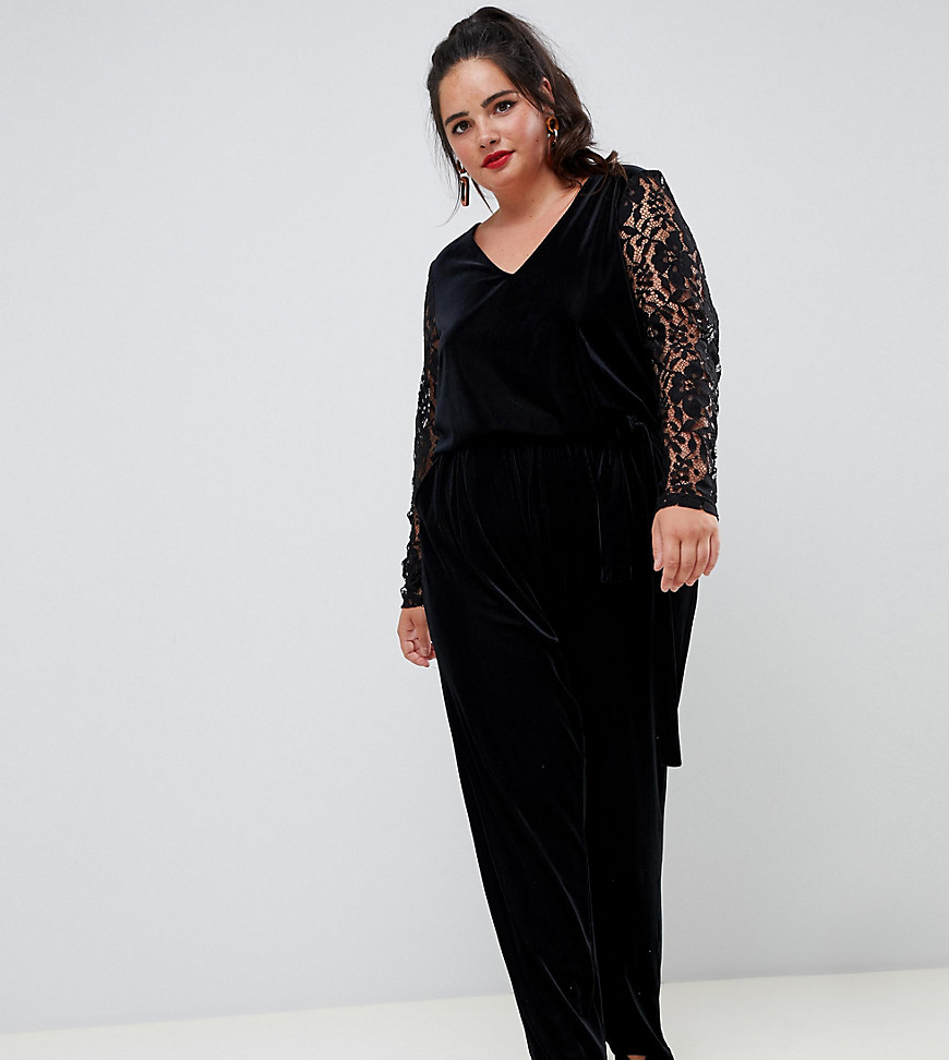 Plus-size jumpsuit by Junarose, Done in one, V-neck, Stretch tie waist, Lace sleeves, It%27s all in the details, Tapered legs, Regular fit - true to size. Designed for sizes up to UK 28, Danish label Junarose is the plus-size sister of Vero Moda and Only. Focused on embracing the female silhouette, each collection is carefully tailored with flattering cuts and transitional pieces, including pencil skirts, bodycon dresses and pretty blouses.