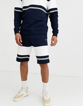 Tommy Jeans colourblock sweat short with taping in navy