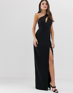Vesper one shoulder maxi dress in black