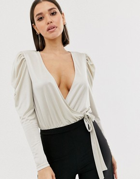 ASOS DESIGN volume sleeve wrap body in dark ivory