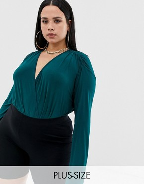 PrettyLittleThing Plus slinky wrap front long sleeve bodysuit in emerald green