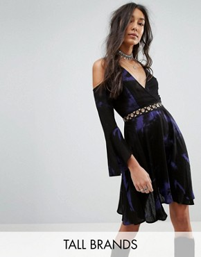 Kiss The Sky Tall Dress In Dark Tie Dye With Hardware Trim
