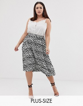 PrettyLittleThing Plus pleated midi skirt in zebra