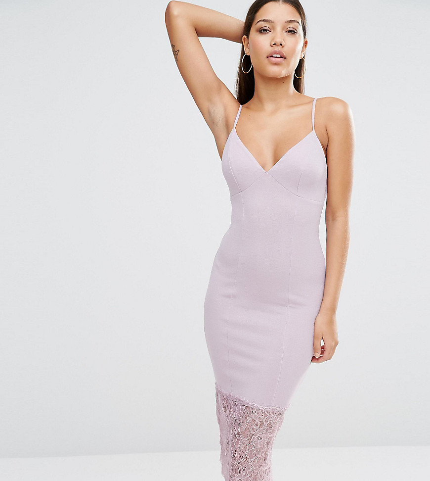 Product photo of Missguided lace hem midi dress lilac