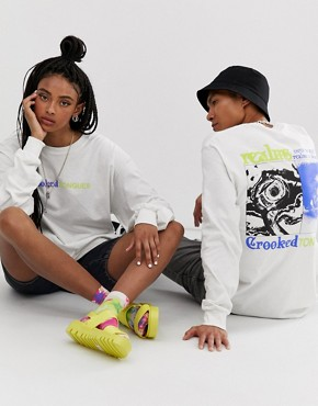 Crooked Tongues unisex oversized long sleeve t-shirt with back print