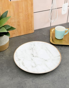 New Look Marble Effect Plate - Charcoal
