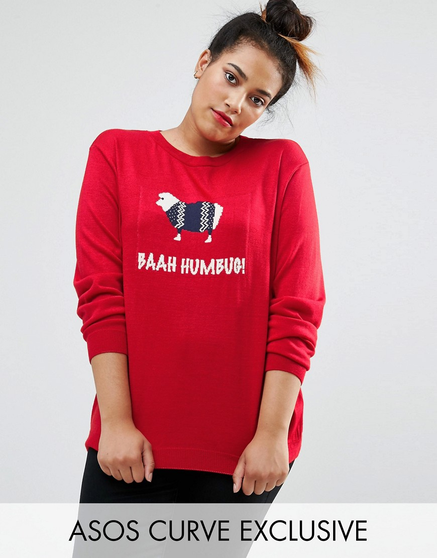 ASOS CURVE Christmas Jumper With Bahh Humbug Sheep - Red
