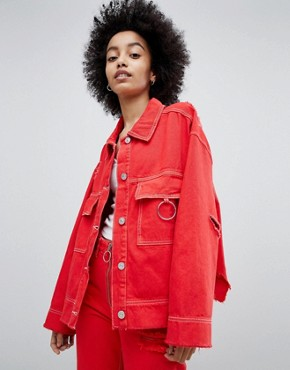 Bershka Denim Jacket With Ring Detail And Distressing - Red