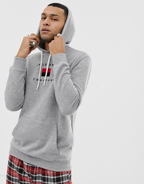 YOURTURN hoodie with chest embroidery in grey