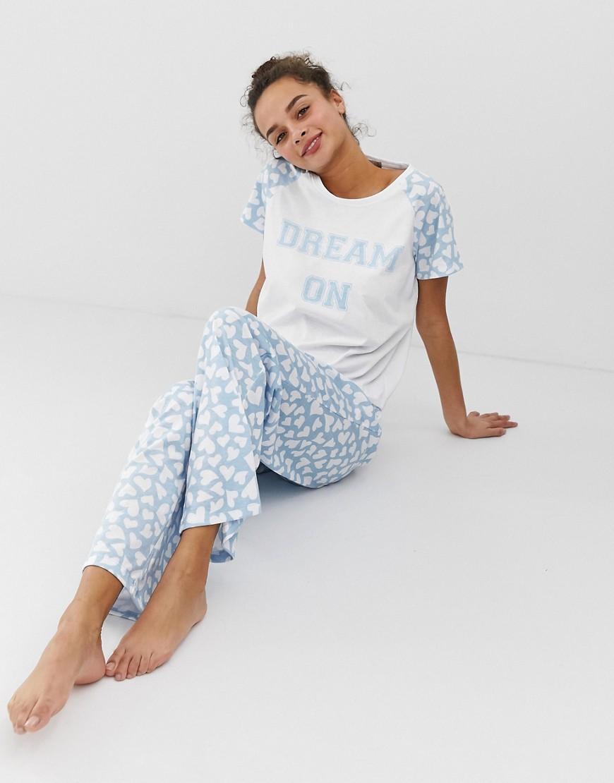 Intimo Blu donna Pigiama con scrittaDream On - Loungeable - Blu