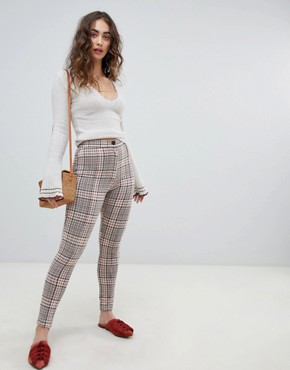 Free People Carnaby checked skinny trousers - Orange combo