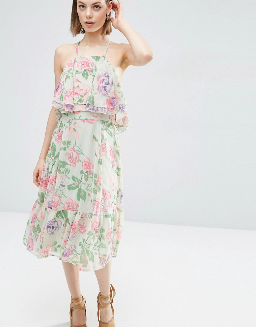 Image 1 of ASOS Floral Ruffle Top And Ruffle Hem Midi Dress