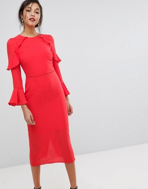 Oasis Fluted Sleeve Frill Detail Midi Dress - Mid red