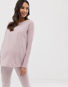 ASOS DESIGN Maternity mix & match marl long sleeve pyjama jersey t-shirt