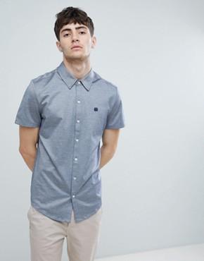 Aquascutum Hodder short sleeve mercerised short sleeve shirt in navy