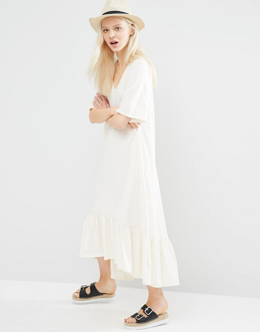 Image 1 of Monki Ruffle Hem Midi Dress