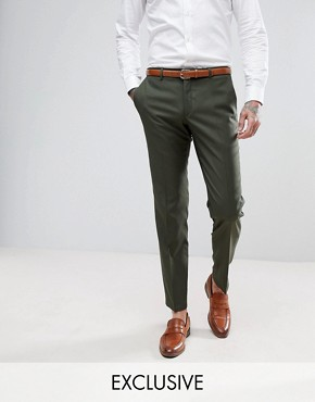Heart & Dagger Skinny Suit Trousers - Khaki