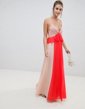 ASOS DESIGN colourblock cami strap maxi dress with ruffle waist - Nude/coral