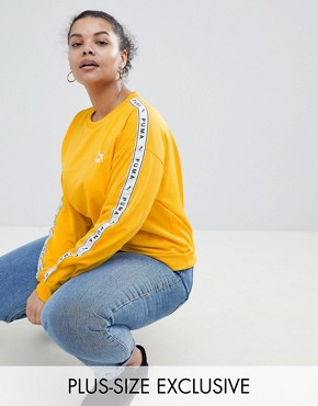 Puma Exclusive To ASOS Plus Sweatshirt With Taped Side Stripe In Yellow - Citrus