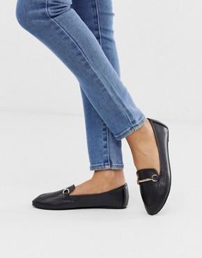 RAID Viera black leather look snaffle detail flat shoes