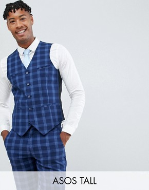 ASOS DESIGN Tall wedding skinny suit waistcoat in tonal blue check - Blue