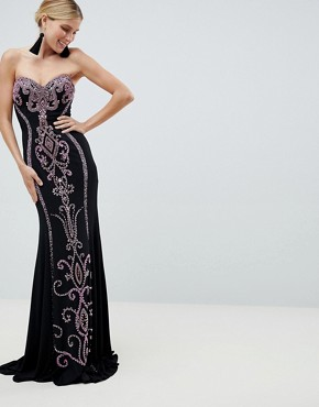Jovani Contrast Strapless Maxi Dress - Black