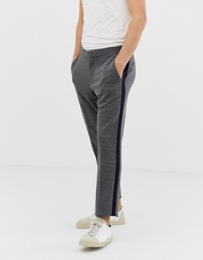 Burton Menswear skinny fit smart jersey trousers with side stripe in grey