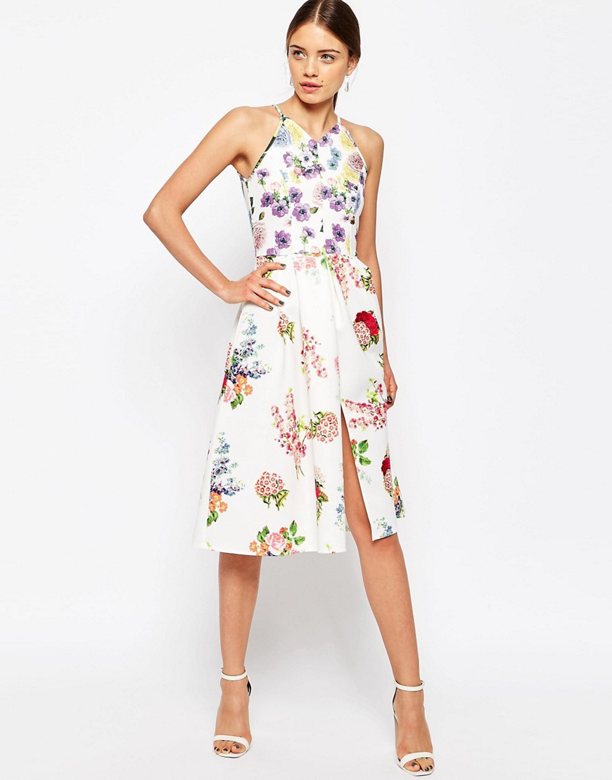 ASOS Mix & Match Floral Print Scuba Midi Skater Dress